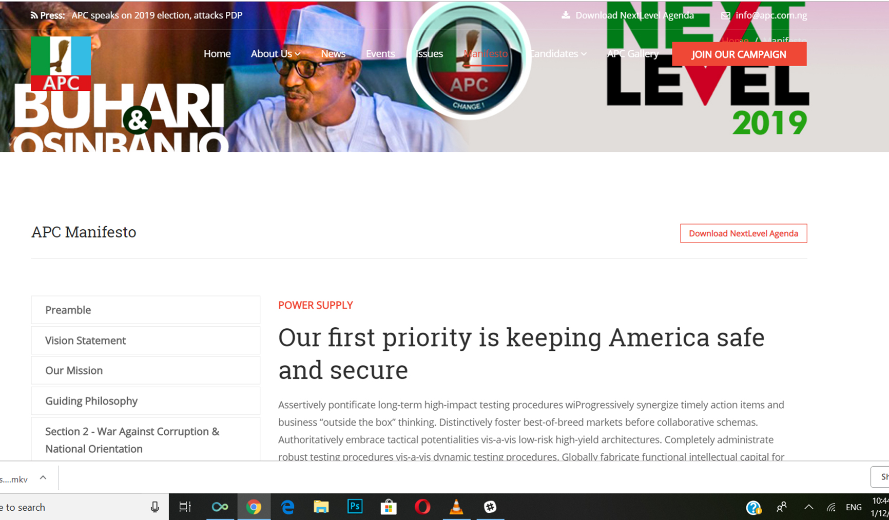 FW: Did the APC plaigiarise the manifesto on their website?